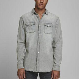 Jack & Jones Grey Chambray Button Down Shirt
